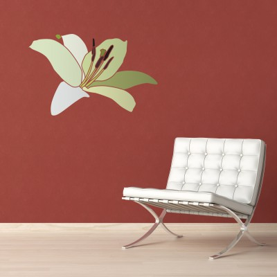 White leather chair on a red wall with copy-scape on the top left corner